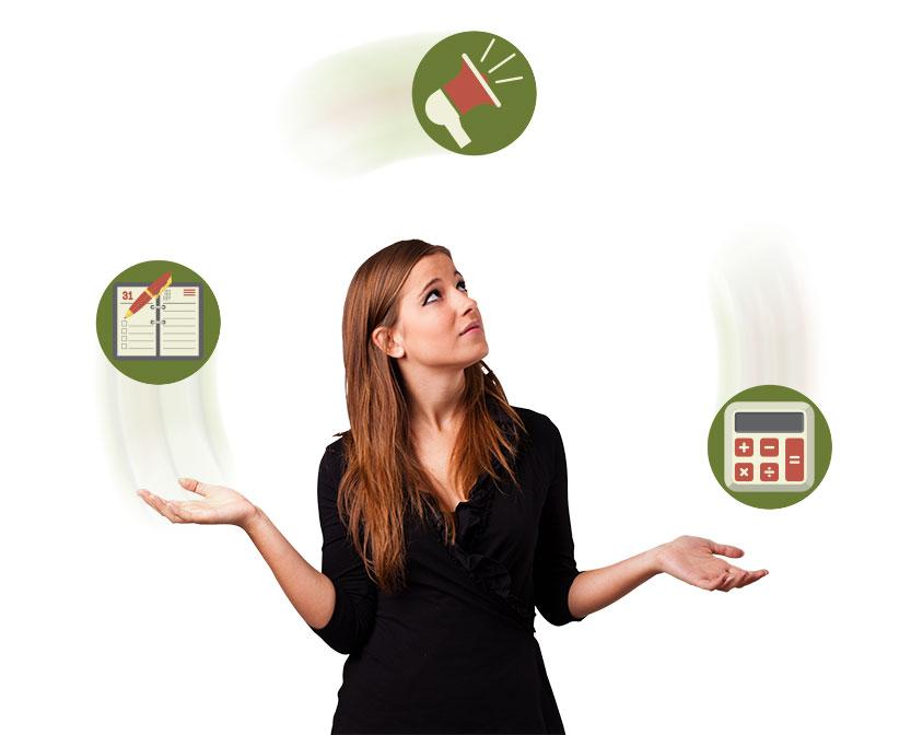 Woman juggling three circles illustrating schedule book, bullhorn and calculator