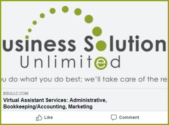 Unoptimized Business Solutions Unlimited homepage Facebook image showing partial BSU logo.