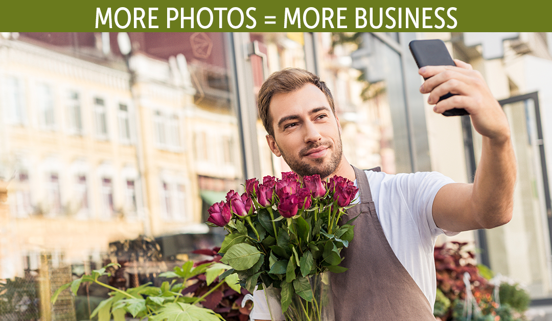 florist taking selfie while holding flowers